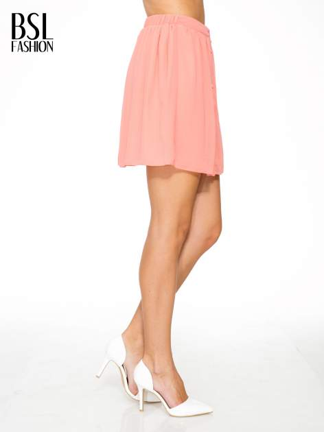 Różowa mini spódnica zapinana z przodu  na rząd guzików                                  zdj.                                  3