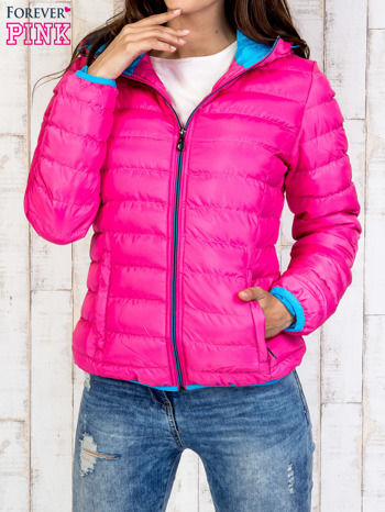 Różowa ocieplana kurtka z kieszeniami                                  zdj.                                  1