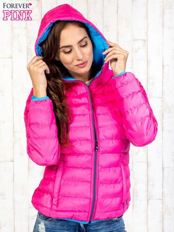 Różowa ocieplana kurtka z kieszeniami                                  zdj.                                  5