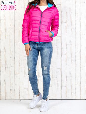 Różowa ocieplana kurtka z kieszeniami                                  zdj.                                  7