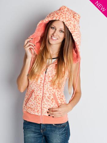 Różowa panterkowa kamizelka z kapturem z uszkami