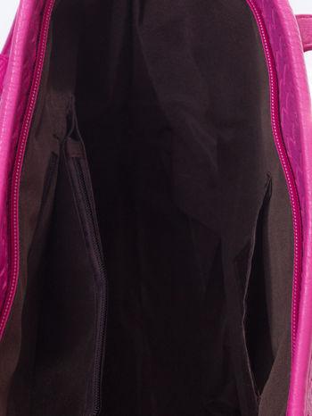 Różowa pleciona torba shopper bag ze złotym detalem                                  zdj.                                  5