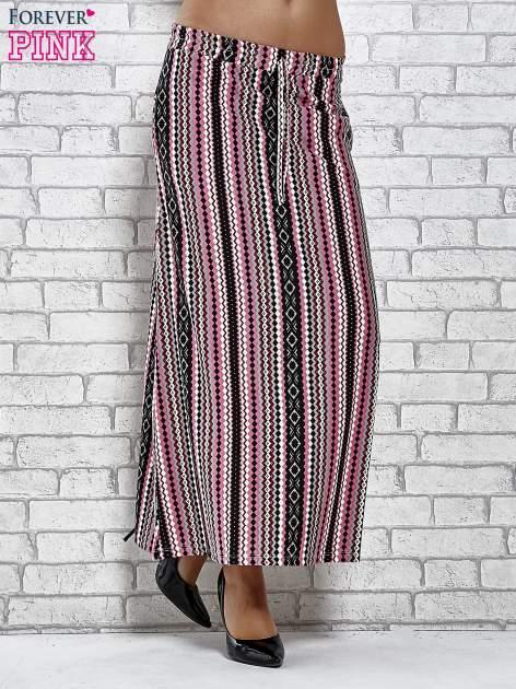 Różowa spódnica maxi w azteckie wzory                                  zdj.                                  1