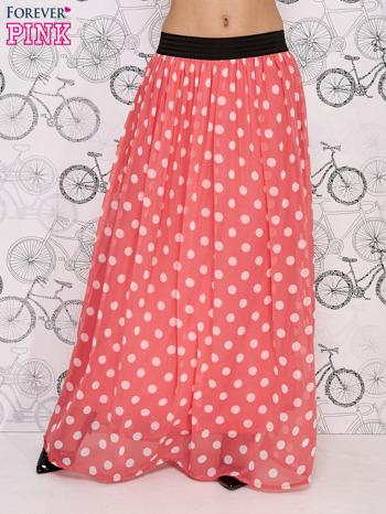 Różowa spódnica maxi w białe grochy