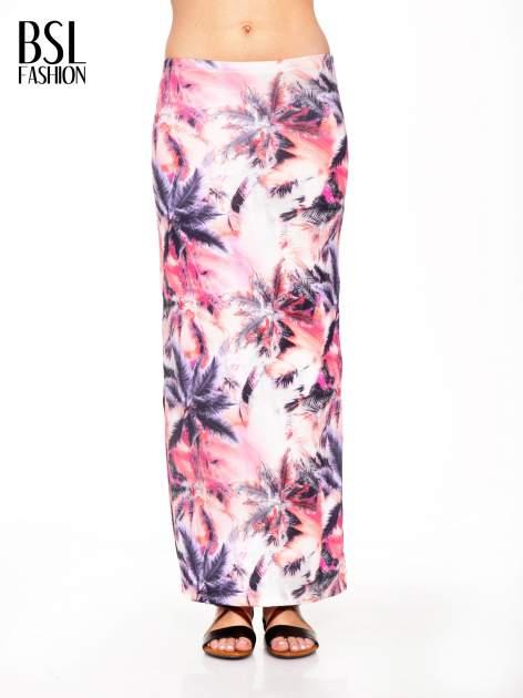 Różowa spódnica maxi z rozporkiem w egzotyczny nadruk palm                                  zdj.                                  1