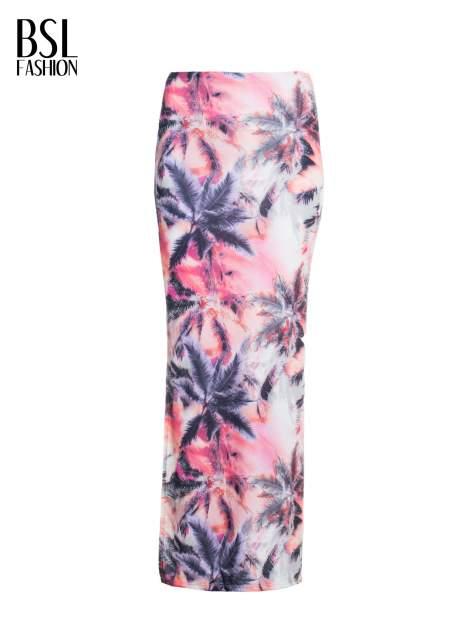 Różowa spódnica maxi z rozporkiem w egzotyczny nadruk palm                                  zdj.                                  4