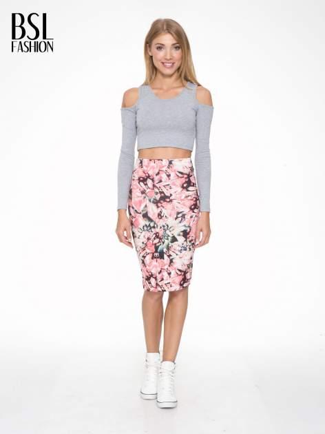 Różowa spódnica ołówkowa z nadrukiem diamond print                                  zdj.                                  5