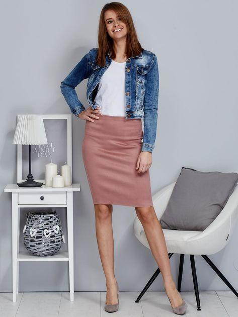Różowa spódnica z imitacji zamszu                              zdj.                              4