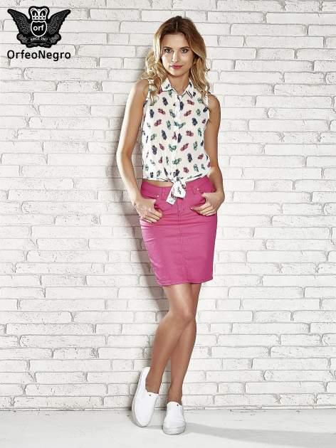 Różowa spódnica z zapięciem na guzik                                  zdj.                                  2