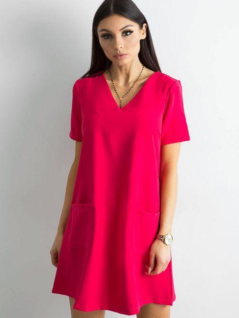 Różowa sukienka damska z kieszeniami                               zdj.                              1