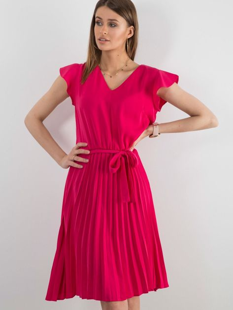 Różowa sukienka damska z wiązaniem                              zdj.                              1