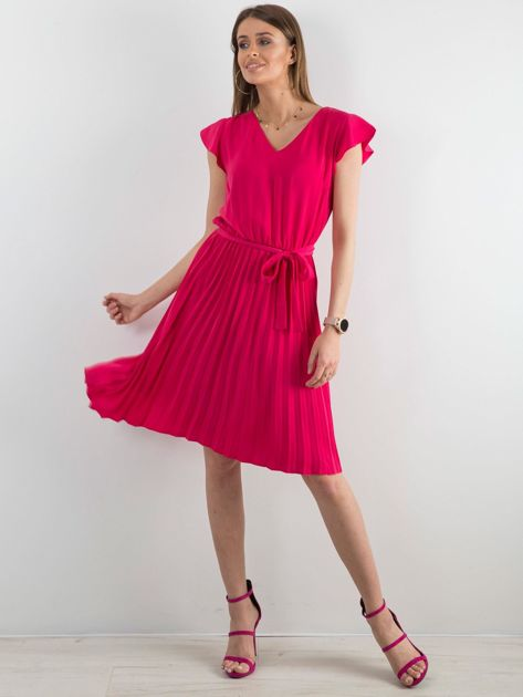 Różowa sukienka damska z wiązaniem                              zdj.                              4