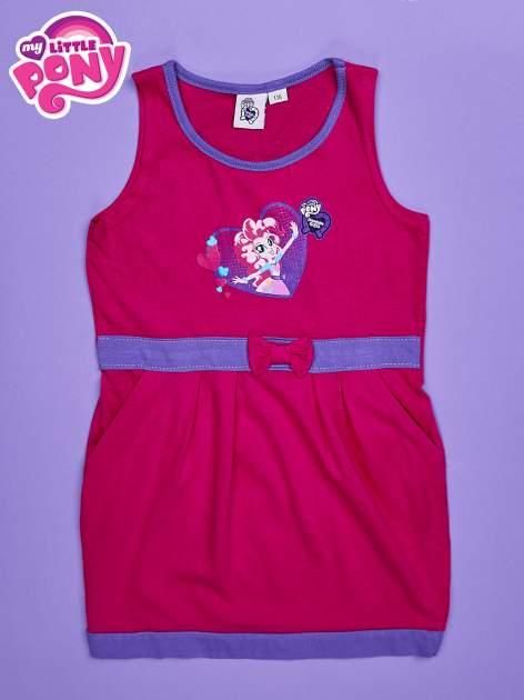 Różowa sukienka dla dziewczynki z kokardką i kieszonkami MY LITTLE PONY                                  zdj.                                  1