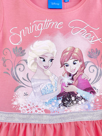 Różowa sukienka dla dziewczynki z tiulowym wykończeniem FROZEN                                  zdj.                                  4