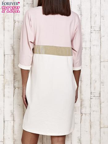 Różowa sukienka dresowa z kryształkami i dżetami                                  zdj.                                  4