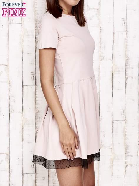 Różowa sukienka dresowa z tiulem w groszki                                  zdj.                                  3