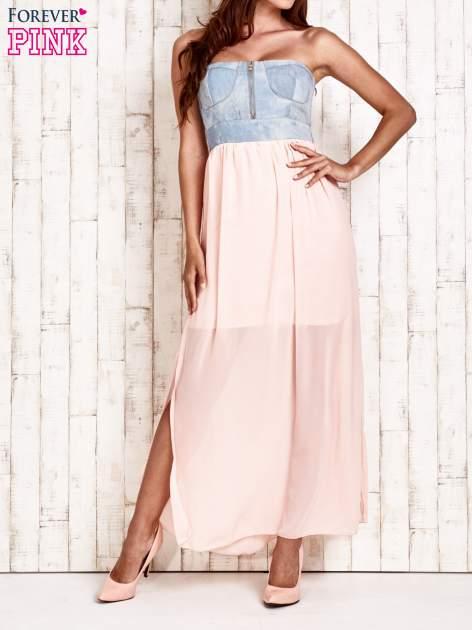 Różowa sukienka maxi z gorsetem z denimu                                  zdj.                                  1