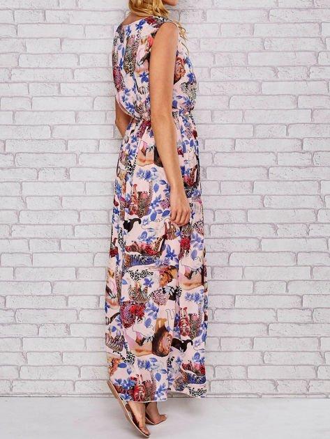 Różowa sukienka maxi z motywem leopard print