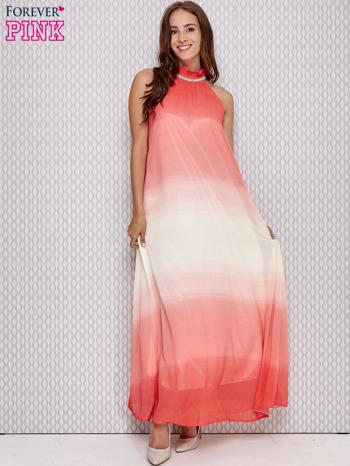 Różowa sukienka maxi z wiązaniem na plecach                                  zdj.                                  4