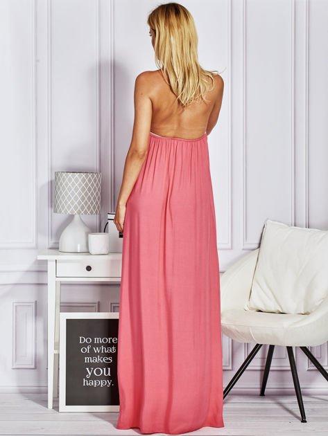 Różowa sukienka maxi z wiązaniem na szyi                                  zdj.                                  2