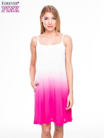 Różowa sukienka na ramiączka z efektem ombre                                  zdj.                                  1