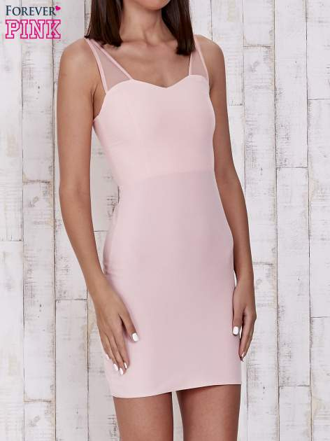 Różowa sukienka tuba z tiulowymi ramiączkami                                  zdj.                                  1