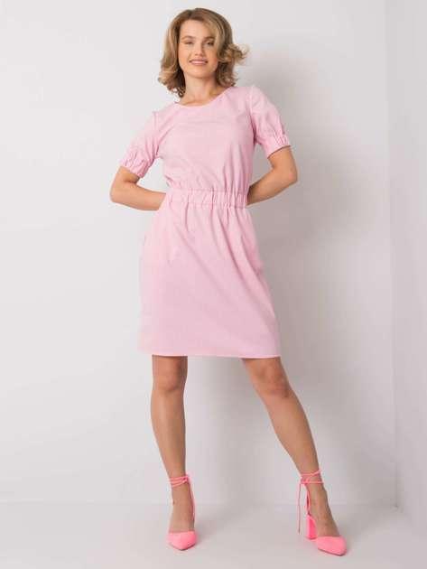 Różowa sukienka w paski Merline