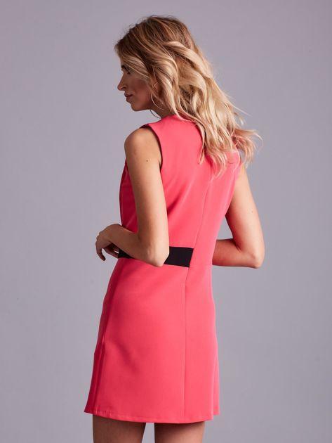 Różowa sukienka z zakładką                              zdj.                              2
