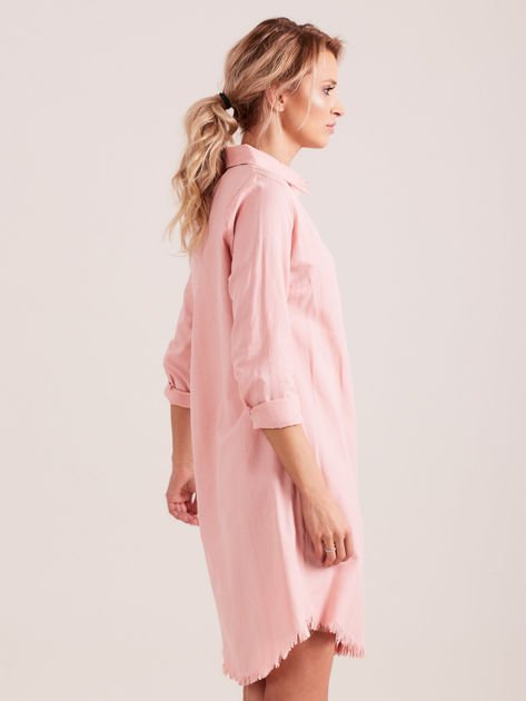 Różowa sukienka zapinana na guziki                              zdj.                              2