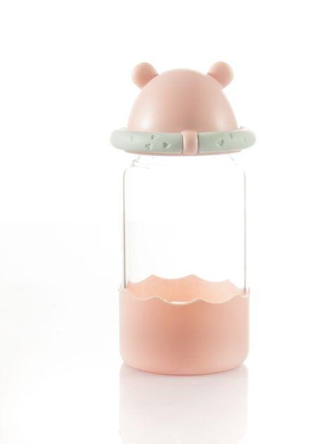 Różowa szklana butelka na napój                               zdj.                              5