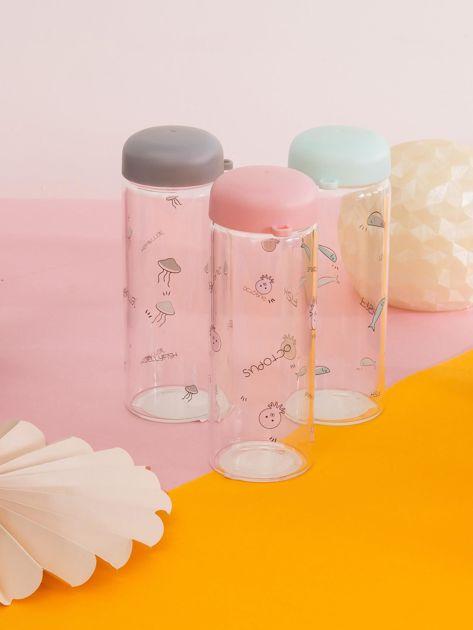 Różowa szklana butelka na napój                              zdj.                              2