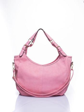 Różowa torba hobo z klamerkami                                  zdj.                                  2