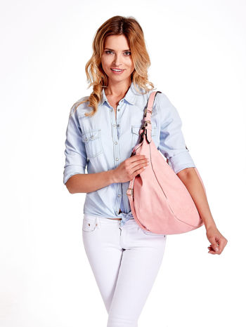 Różowa torba hobo z klamerkami                                  zdj.                                  1
