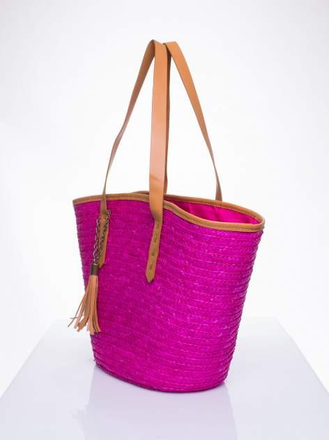 Różowa torba koszyk plażowy ze skórzanymi rączkami                                  zdj.                                  2