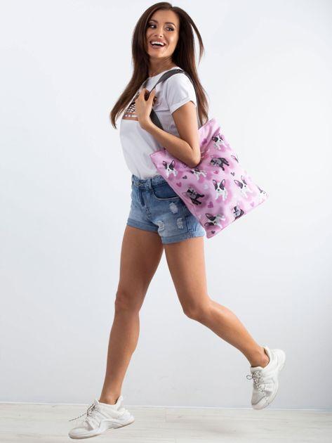 Różowa torba na ramię z nadrukiem                              zdj.                              4
