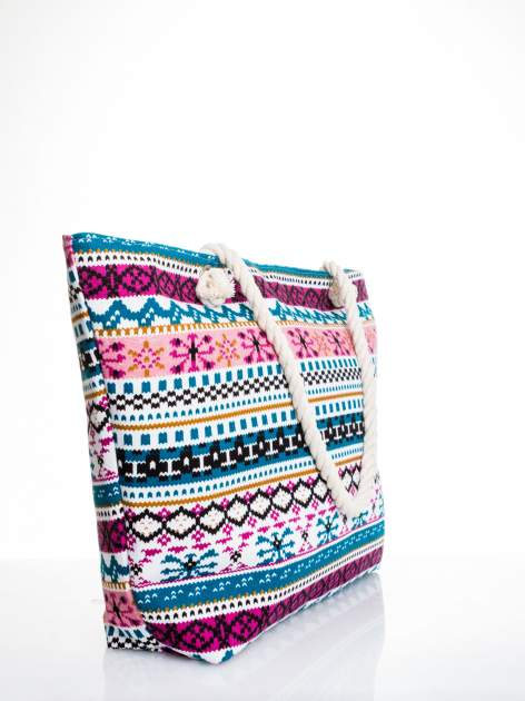 Różowa torba plażowa w azteckie wzory                                  zdj.                                  3
