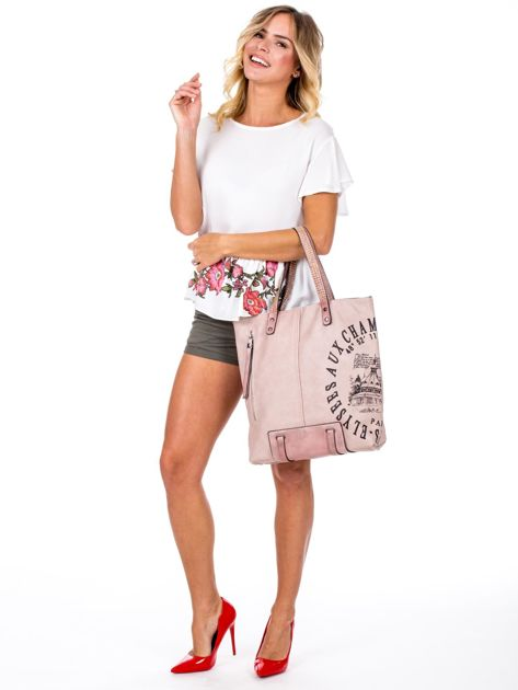 Różowa torba z nadrukiem                               zdj.                              5