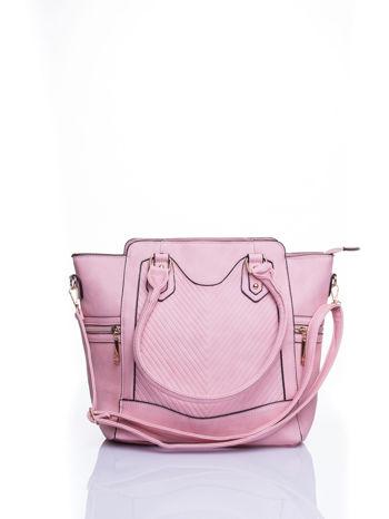 Różowa torba ze złotymi wykończeniami                                  zdj.                                  1