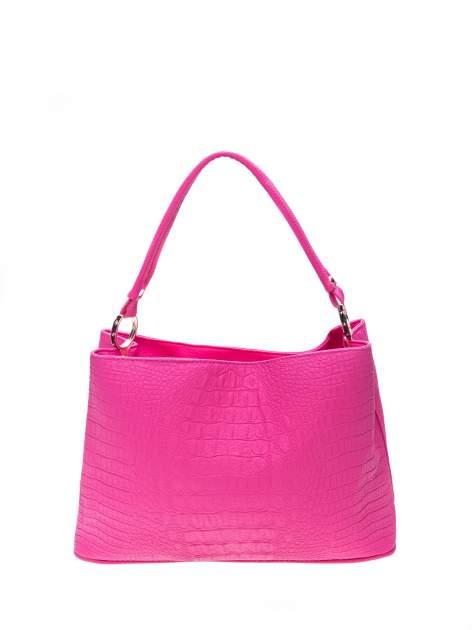 Różowa torebka na ramię tłoczona na wzór skóry krokodyla