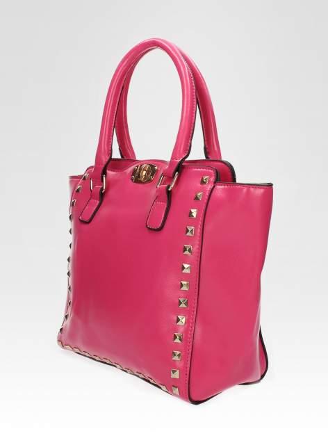 Różowa torebka na ramię z dżetami                                  zdj.                                  7