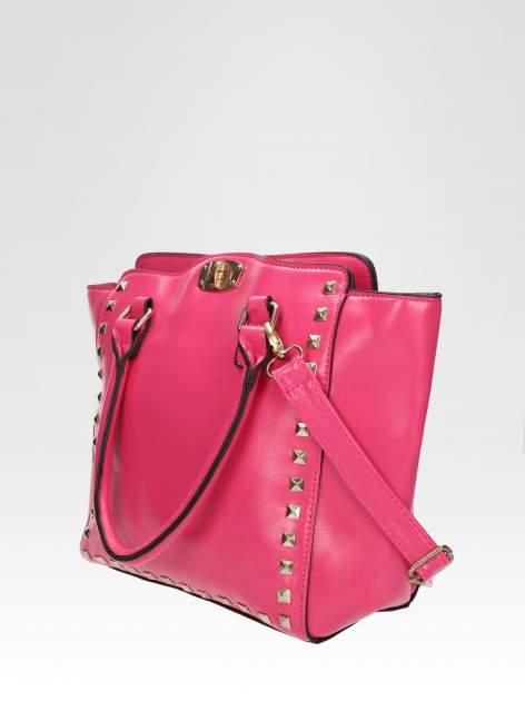 Różowa torebka na ramię z dżetami                                  zdj.                                  2
