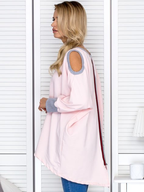 Różowa tunika oversize z ozdobną taśmą                               zdj.                              5