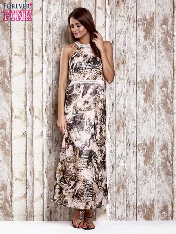 Różowa wzorzysta sukienka maxi z dżetami                                   zdj.                                  4