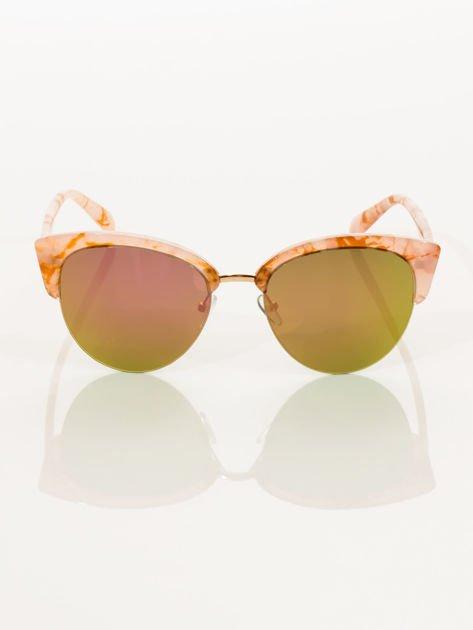 Różowe Marmurkowe Okulary Przeciwsłoneczne KOCIE OCZY                              zdj.                              2