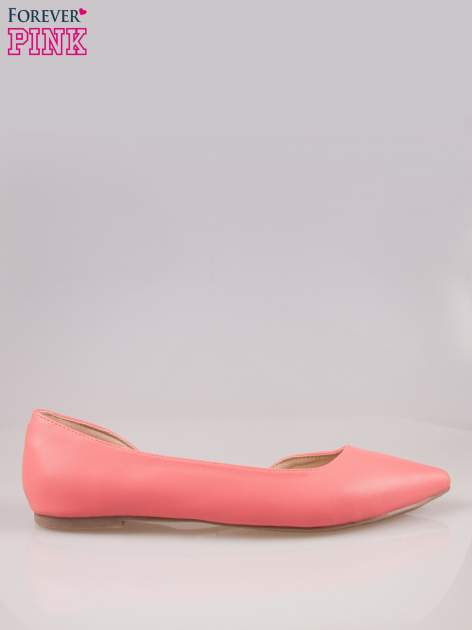 Różowe baleriny faux leather Cookie w szpic z wycięciem z boku                                  zdj.                                  1