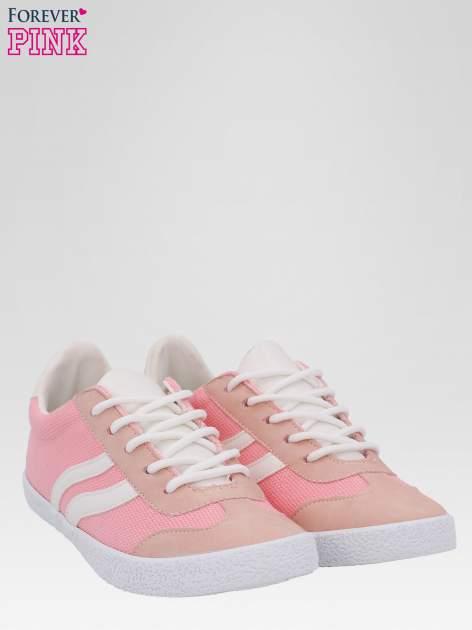 Różowe buty sportowe faux leather Cupcake w stylu casual                                  zdj.                                  2