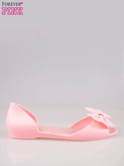 Różowe gumowe baleriny peep toe z kokardą