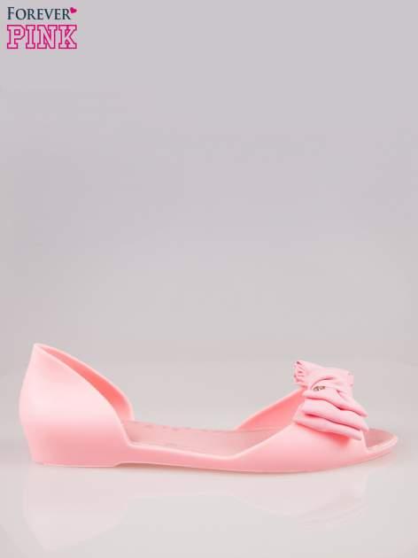 Różowe gumowe baleriny peep toe z materiałową kokardą                                  zdj.                                  1
