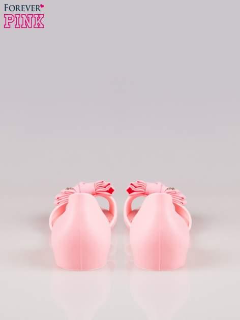 Różowe gumowe baleriny peep toe z materiałową kokardą                                  zdj.                                  3