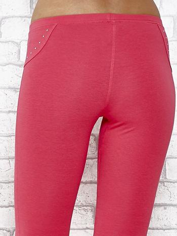Różowe legginsy sportowe 7/8 z wiązaniem                                  zdj.                                  5